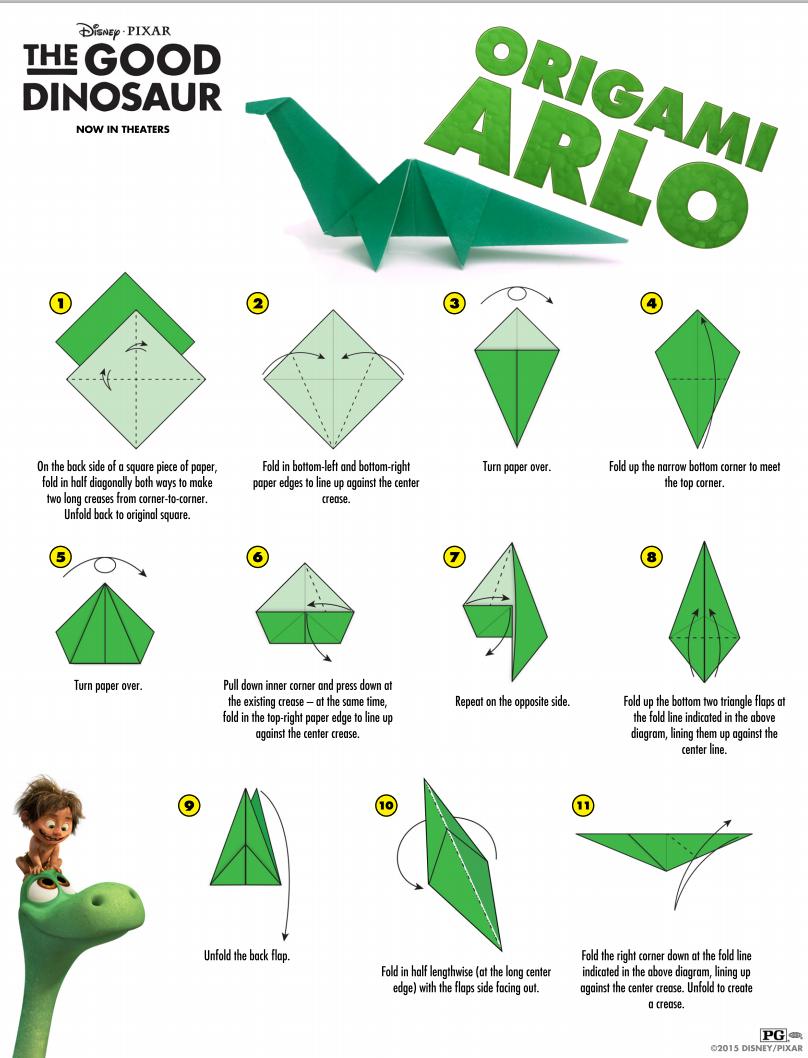 the good dinosaur origami arlo free printable gooddino audrey